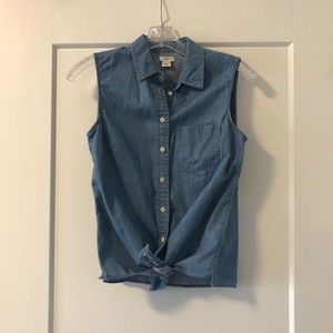 J.Crew Sleeveless Tie Front Jean Top